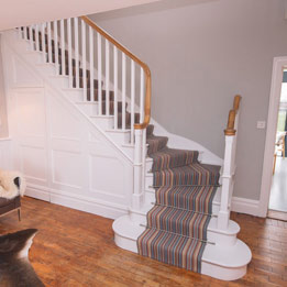 Cut and Mitred Staircase with continuous Oak Handrail and Wall Panelling
